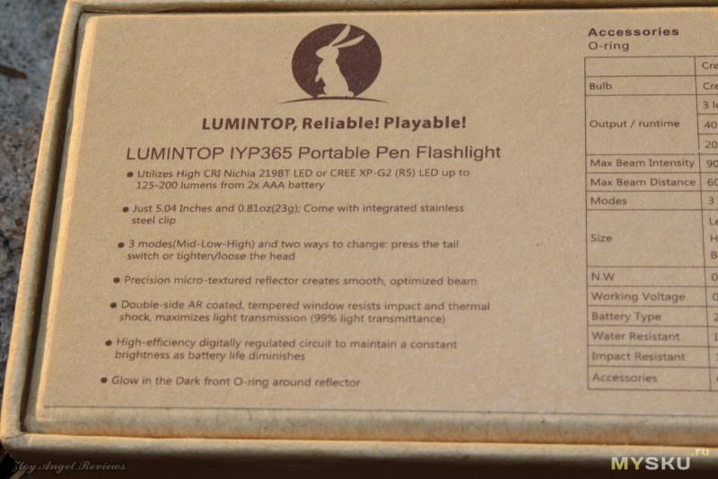Фонарик с форм фактором шариковой ручки Lumintop IY365.
