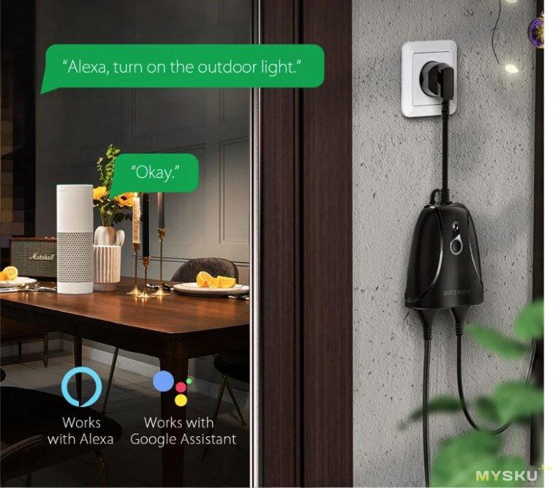 Умный WiFi контроллер-разветвитель 220В BlitzWolf® BW-SHP14 уличного исполнения за 18,99$