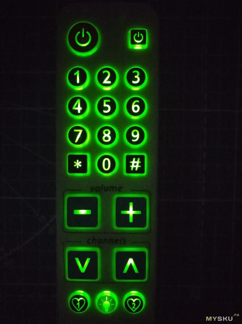 Быстрообзор удобного обучаемого пульта с крупными кнопками и подсветкой