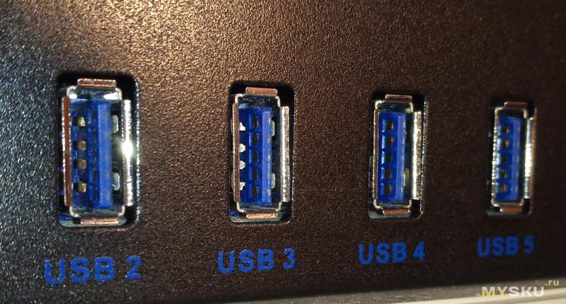 """7-портовый USB 3.0 хаб в 5.25"""" отсек"""