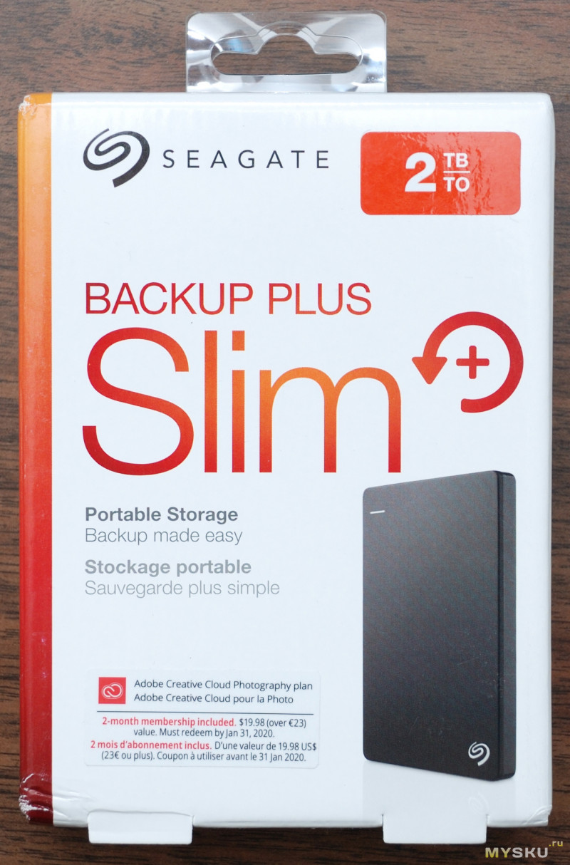 Seagate Backup Plus Slim 2TB Portable External Hard Drive USB 3.0, Black (STDR2000100)