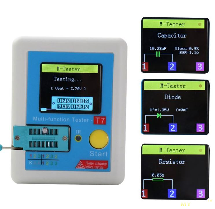Мультифункциональный тестер (транзистор тестер) LCR-T7 за 12.35$