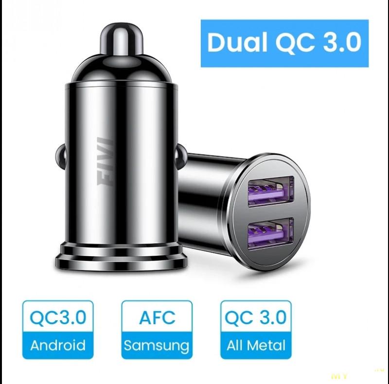 Автомобильное зарядное устройство FIVI с 2 портами и QC3.0 с купоном за 3.31$