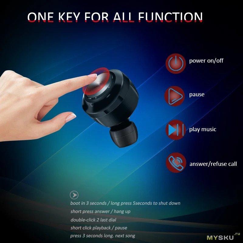 Акция на беспроводные TWS Bluetooth 5.0 наушники Air twins A6 - 4.89$