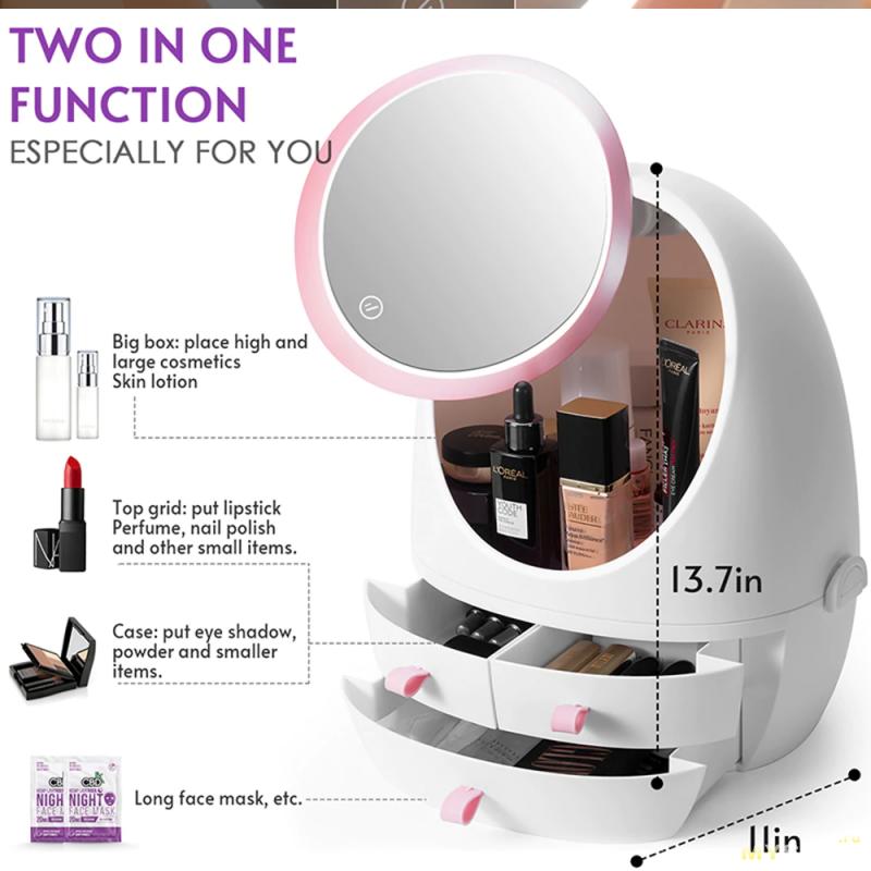 Органайзер для косметики, или женская косметичка с зеркалом и подсветкой - за 27.92$.