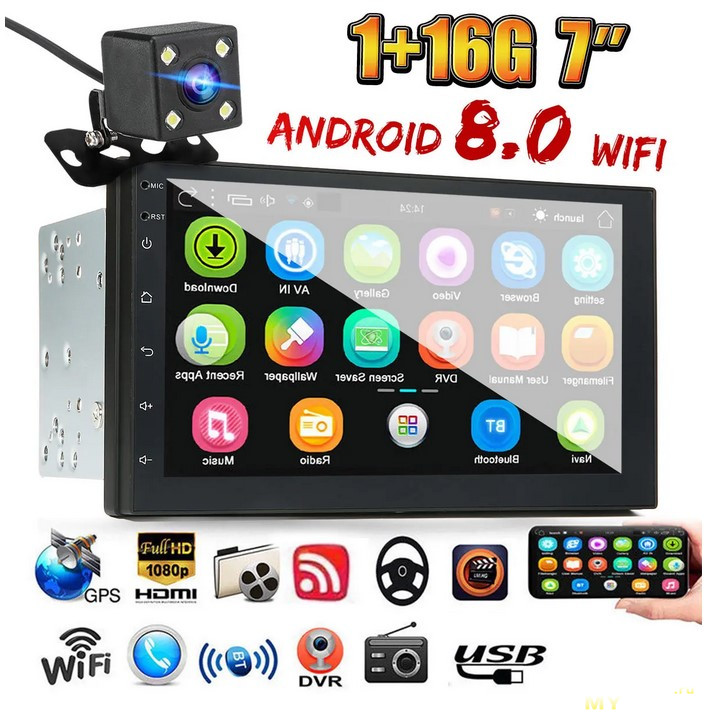 Автомагнитола iMars 7 Inch 2 Din Car MP5 Player for Android 8.0 2.5D   1/16GB