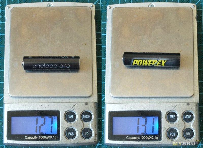 Maha Powerex 1000 (900) mAh vs Eneloop Pro 950 (930) mAh