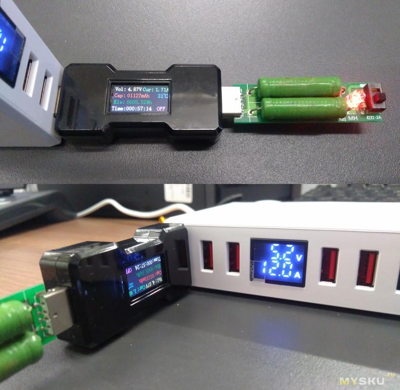 WLX-T9+ Зарядная станция 40 Вт на 6 портов с индикатором тока и напряжения.