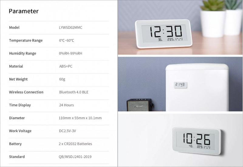 Новая версия термометра-гигрометра с E-Ink экраном  от Сяоми, теперь с часами!