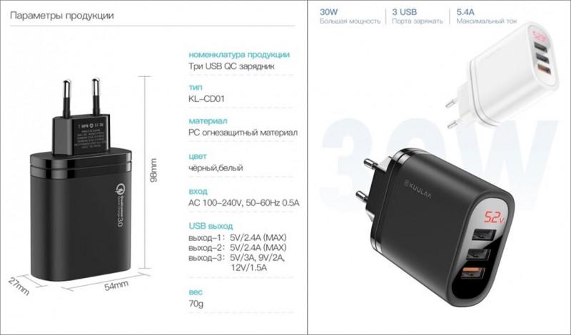 11.11 Зарядка на 30Вт KUULAA Quick Charge 3.0 с дисплеем за $3.92