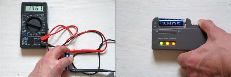 Органайзер для батареек, с тестером