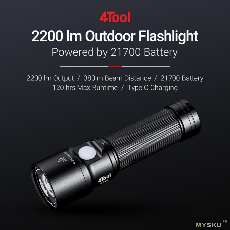 Предзаказ на фонарик NEXTOOL 4TOOL ED20 за . 2200LM, аккумулятор 21700, 4800mAh,Type-C