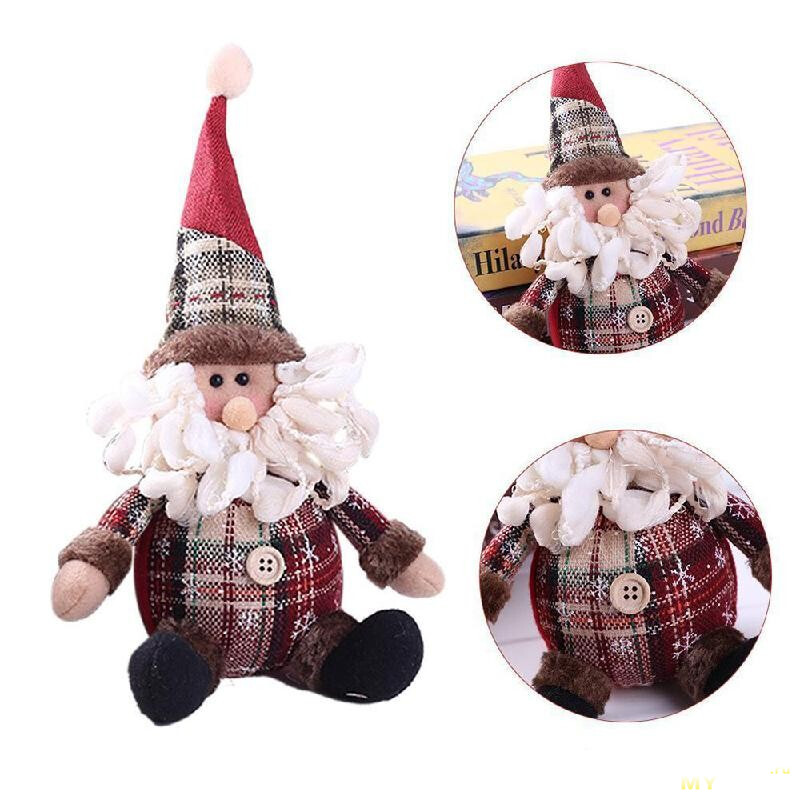 Плюшевые новогодние игрушки: олень, снеговик и санта за 0.99$