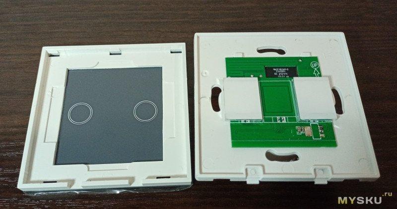 Встраиваемый 2-х клавишный сенсорный выключатель Zigbee Smart Wi-Fi без нейтрального провода (433 RF)