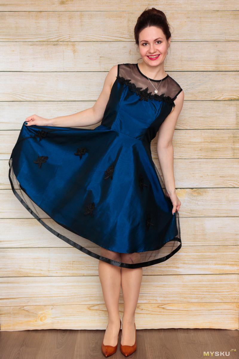 c94a596c675 Вечернее платье синего цвета с отделкой из фатина (цена со скидкой  6.90)