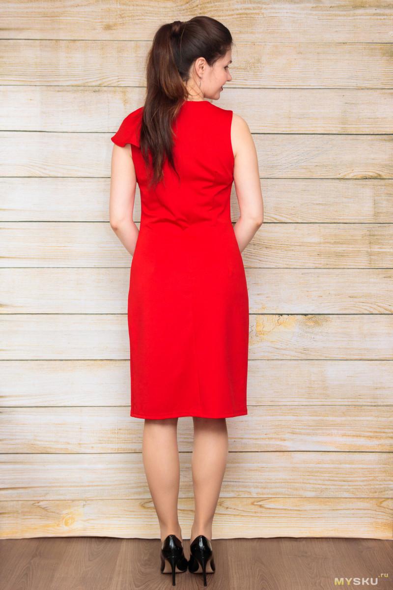 Красное платье с оборкой на плече от Grace Karin