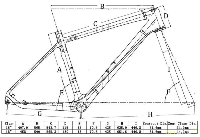 Рама для велосипеда FR-203 от Flyxii. Китайкарбон под 26 колеса.