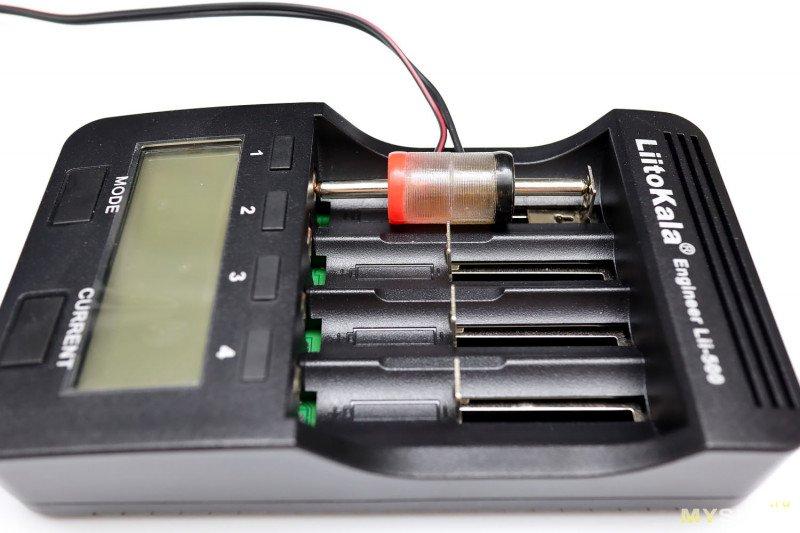 Ещё один вариант контактов для проверки нестандартных аккумуляторов. И результаты тестов некоторых фирменных и совместимых китайских аккумуляторов.