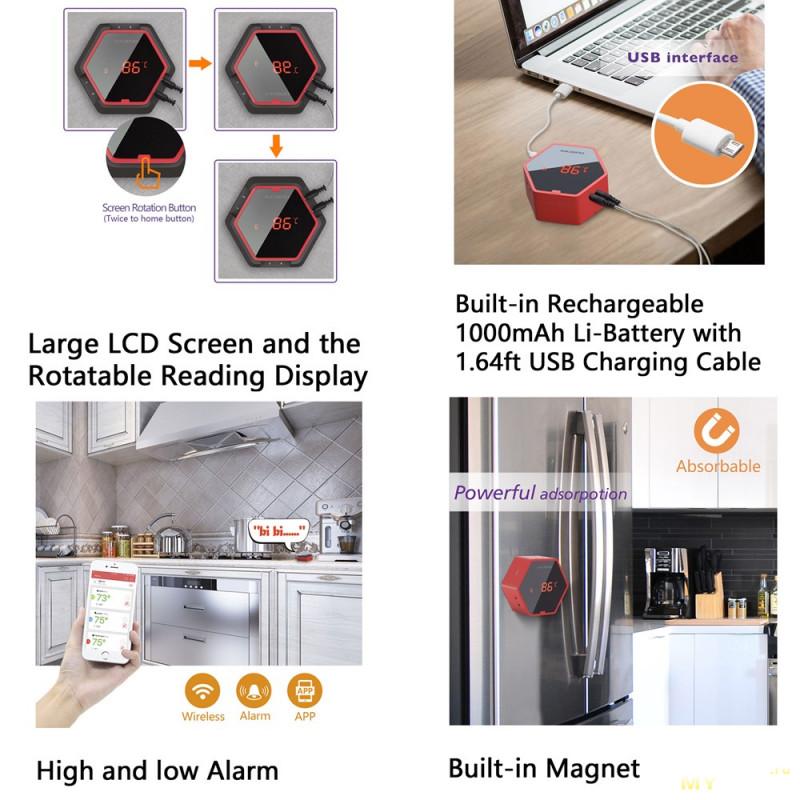 Портативный кухонный термометр  INKBIRD HET-F001.$7.36