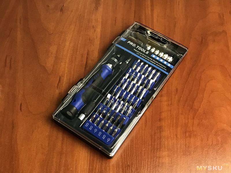 Отвертка и набор из 58 бит для мелких работ
