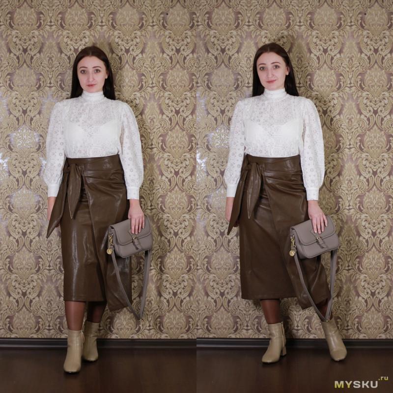 Модная юбка из искусственной кожи