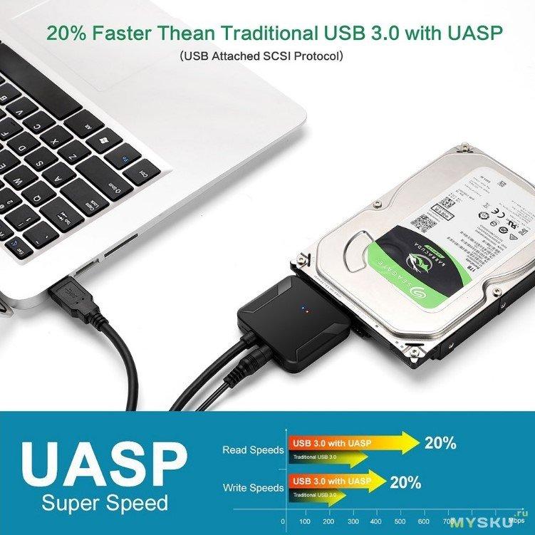 """Хороший бы адаптер USB 3.0 - SATA, с протоколом UASP...но снова прислали """"новую ревизию"""""""