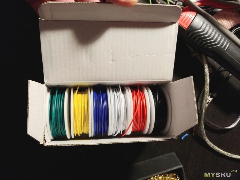 Качественный многожильный монтажный провод в ПВХ (PVC) изоляции. Набор 6 катушек разного цвета по 10 метров в коробке.