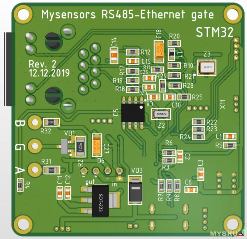 Делаем шлюз Ethernet-RS485 на STM32 для Mysensors